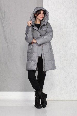 Пальто Пальто Beautiful&Free 4016 серый  Состав ткани: ПЭ-100%;  Полупальто женское, зимнее, из гладкокрашеной полиэфирной ткани двух видов, с утепляющей подкладкой из 2-х слоев синтепона, на притачн