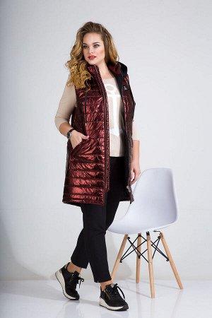 Жилет Жилет Liliana 867 медно-коричневый  Состав ткани: ПЭ-100%;  Рост: 164 см.  Удлиненная жилетка-пуховик, выполненная из стёганной ткани, находка на прохладную осень! Модель слегка трапециевидного