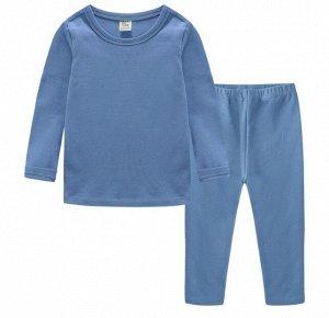 Детский костюм, голубой лонгслив и голубые брюки