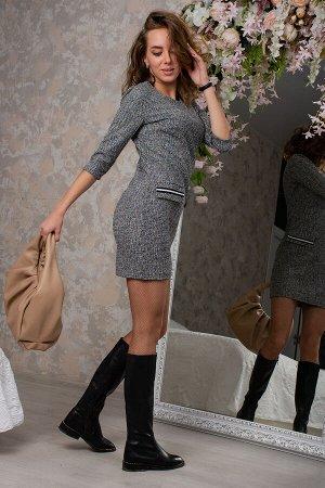 Платье Очень краксивое! \Данный товар в одной расцветке ткань: трикотаж букле состав: 100%полиэстер Платье приталенное из буклированного трикотажного полотна, рукав до локтя, декоративные клапаны с от