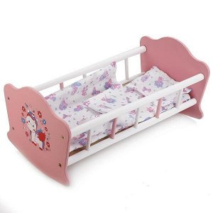 """RB-P-W Кроватка для кукол """"милый пони"""" деревянная 52 см КАРАПУЗ в кор.10шт"""