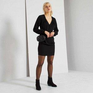 Короткое платье с запахом - черный