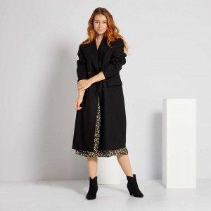 Длинное пальто из материала под шерсть - черный
