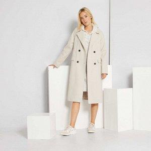 Длинное пальто из материала под шерсть - снежно-белый