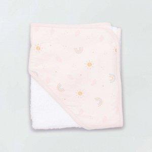 Махровое полотенце-накидка и банная рукавица - белый/голубой
