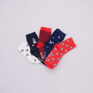 Комплект из 5 пар носков с рисунками - красный
