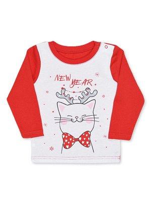 Кофточка Цвет: Красный; Рисунок: Кошка; Материал: Хлопок 100%; ТИП ТКАНИ: Кулирка Прелестная кофточка с классным принтом на полочке. Горловина обработана ластиком, на одном плече имеются кнопочки для