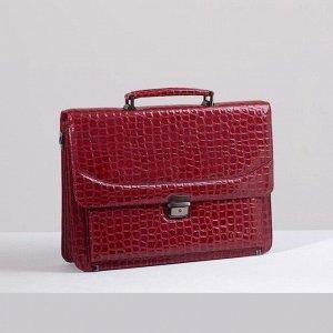 Папка деловая, 2 отдела на клапане, 2 наружных кармана, длинный ремень, цвет тёмно-красный