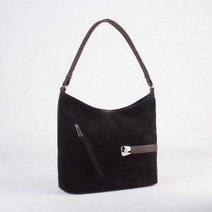 Сумка женская, замша, отдел на молнии, наружный карман, цвет чёрный