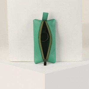 Ключница, отдел на молнии, металлическое кольцо, цвет зелёный