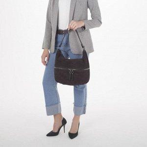 Сумка женская, замша, отдел на молнии, 2 наружных кармана, цвет коричневый