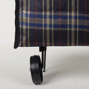 Сумка хозяйственная на колёсах, складная, наружный карман, цвет чёрный/белый