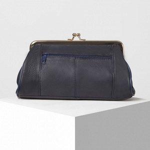 Косметичка-фермуар, отдел на рамке, наружный карман, цвет синий