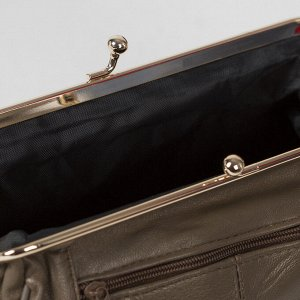 Косметичка-фермуар, отдел на рамке, наружный карман, цвет бронза