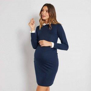 Платье с воротником на пуговицах для беременных - синий