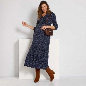 Длинное платье для беременных - голубой