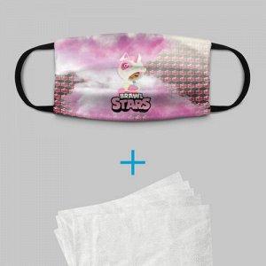 Детская маска (+5 фильтров) «Leon Unicorn Brawl Stars»