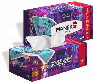 """Салфетки бумажные """"Maneki"""" DREAM с ароматом магнолии, 2 слоя, белые, 250 шт./коробка"""