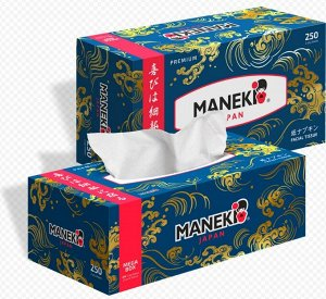 """Салфетки бумажные """"Maneki"""" OCEAN, 2 слоя, белые, 250 шт./коробка"""