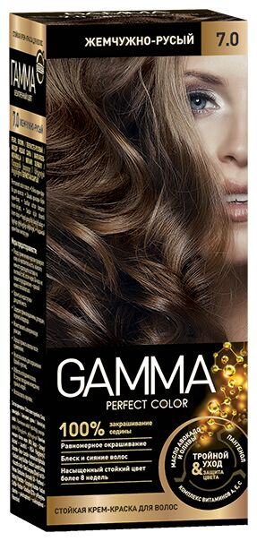 NEW Крем-краска GAMMA PERFECT COLOR 100мл д/волос стойкая тон 7.0 Жемчужно-русый (компл.-окисл.6%)