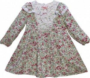 Платье сливочный,коричневый Платье Садовница Верх - 100% Хлопок Подкладка – 100% Хлопок