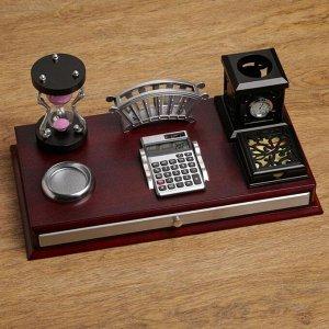 Набор настольный 6в1(часы песочн, визитница, калькулятор, подставка д/ печати, бумаги, ручек)