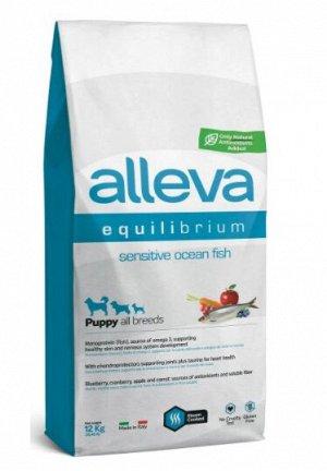 Alleva Equilibrium Sensitivе сухой корм для щенков всех пород с океанической рыбой 12кг