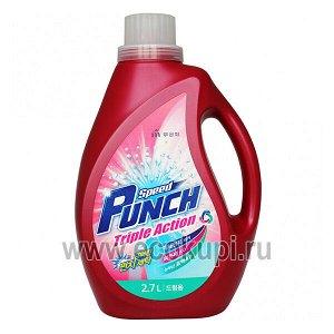 """Глубокоочищающее жидкое средство  для стирки """"Speed Punch Triple Action"""" быстрого действия «Ударная сила» 2,7 л / 4"""