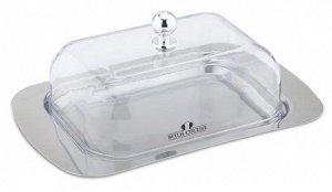 Масленка Bella Cucina Масленка  Материал: нержавеющая сталь, пластиковая крышка    Размер:18,9х12,2х7см Упаковка: цветная коробка
