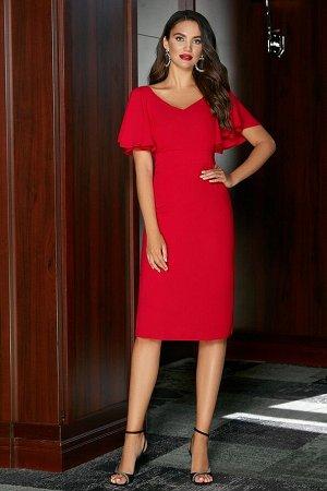 Платье Состав 100% ПЭ Платье (длина по спинке – 99 см, цвет: алый) - силуэт полуприлегающий, на притачном поясе; - лиф переда с нагрудными вытачками от бокового; - лиф спинки со средним швом и талиевы