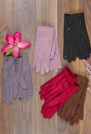 Перчатки женские, пуговки, сенсор