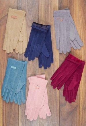 Перчатки женские, вышивка, сенсор