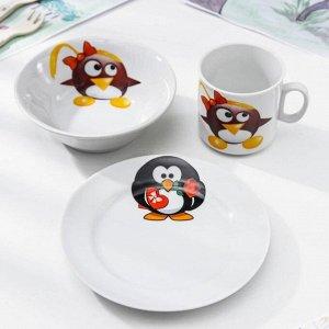 Набор посуды Добрушский фарфоровый завод «Пингвинчики », 3 предмета: кружка 200 мл, салатник 360 мл, тарелка мелкая d=17 см