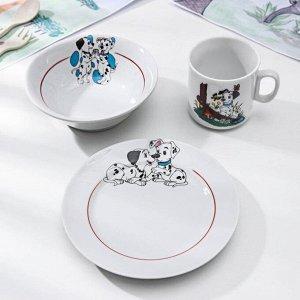 Набор посуды «Идиллия. Далматинцы», 3 предмета: кружка 200 мл, салатник 360 мл, тарелка мелкая d=17 см, цвет МИКС