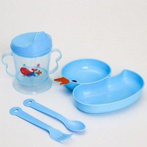 Набор посуды 4 предмета, миска, вилка и ложка, поильник твердый носик 200 мл., цвет МИКС