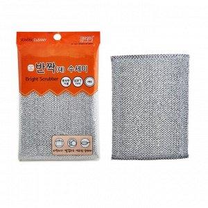 """Губка """"Bright Scrubber"""" для мытья посуды и кухонных поверхностей в серебристой плотной сетке (средней жёсткости)   (20 х 14 х 0,9 см)  х 1 шт / 400"""