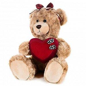 "Мягкая игрушка. Мишка ""Моника"" с сердцем и бантиком на голове 25 см. арт.MT-GU092018-1-25"