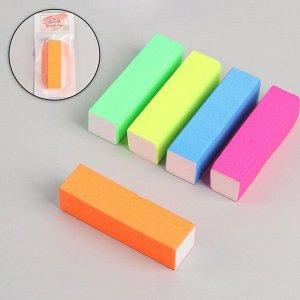 Баф наждачный для ногтей «Неон», четырёхсторонний, 9,5 ? 2,5 ? 2,5 см, цвет МИКС