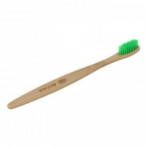 Бамбуковая зубная щётка Biocase, для взрослых, зелёная