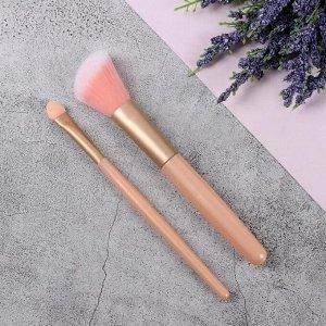 Набор кистей для макияжа, 2 предмета, цвет розовый