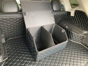 Органайзер Средний Эко Кожа в багажник авто Черный с синей строчкой Akuma