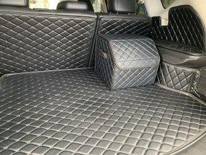 Органайзер Маленький Эко Кожа в багажник авто Черный с синей строчкой Akuma