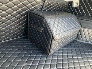 Органайзер Средний Эко Кожа в багажник авто Черный с черной строчкой Akuma