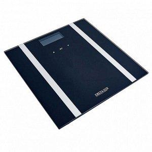 """Весы 180 кг 28?28 см электронные напольные DELTA LUX DE-4600 """"SMART"""" черные"""