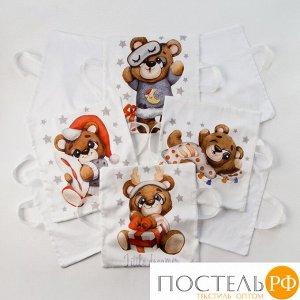 """Набор наволочек Крошка Я """"Новогодний Мишка"""" цв. белый 35*35 см-8 шт, сатин   4667512"""