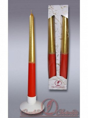 Свеча античная набор 2 шт.цвет золотисто-рубиноый