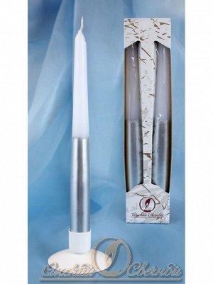 Свеча античная набор 2 шт цвет серебристо-белый