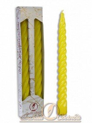 Свеча витая набор 2 шт цвет жёлтый