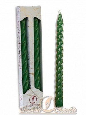 Свеча витая набор 2 шт цвет зелёный