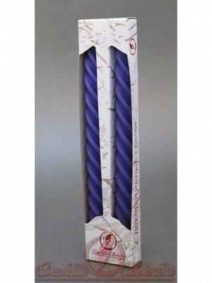 Свеча витая набор 2 шт цвет голубой